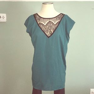 Teal green lace detail tunic
